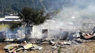 منزل مدمر في كشمير جراء القصف المدفعي