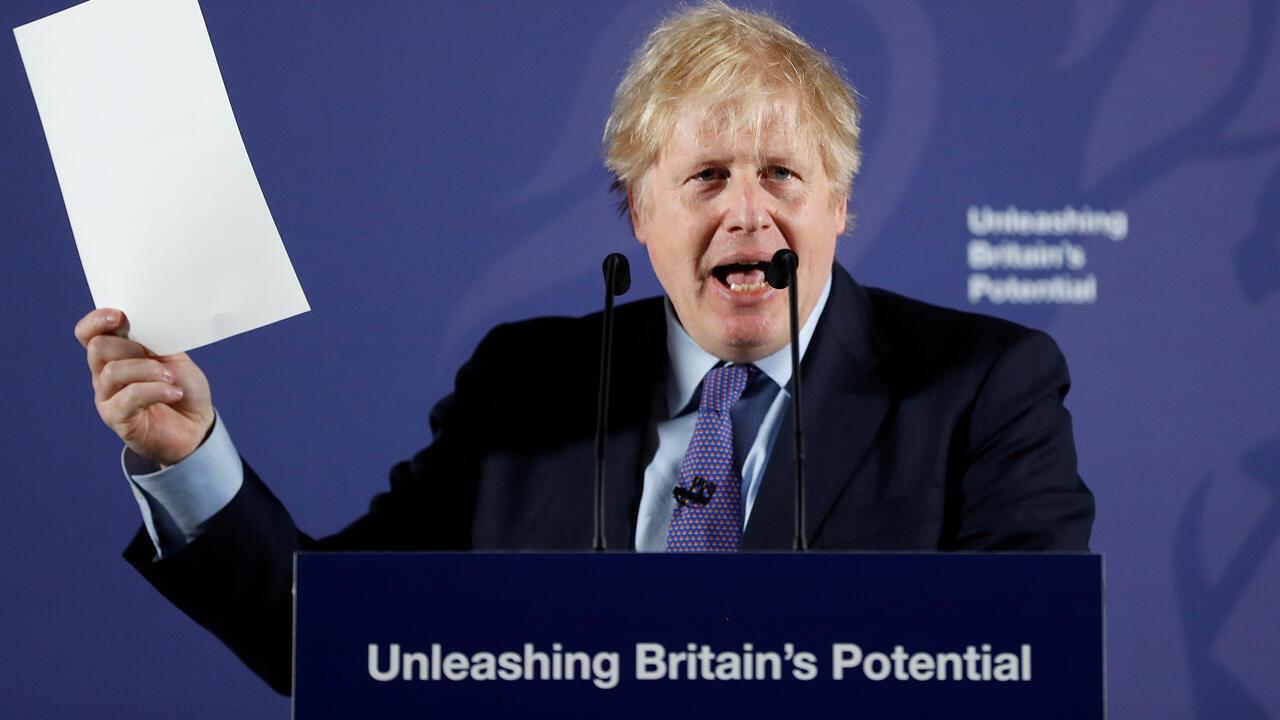 رئيس الوزراء البريطاني بوريس جونسون يحدد موقف حكومته مع الاتحاد الأوروبي يوم 3 فبراير/ شباط 2020