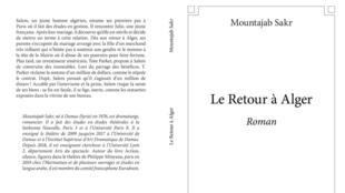 """غلاف رواية """"le retour à Alger"""""""