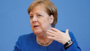 المستشارة الألمانية أنجيلا ميركل خلال ندوتها الصحفية في برلين يوم 11 مارس/آذار  2020