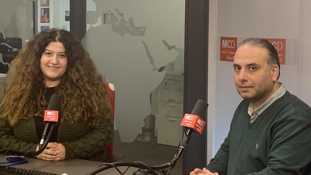 زياد الصائغ برفقة ميساء إسماعيل في استديو مونت كارلو الدولية بباريس