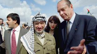 ياسر عرفات وجاك شيراك في رام الله يوم 23 أكتوبر 1996