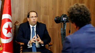 رئيس وزراء تونس يوسف الشاهد خلال مقابلته مع رويترز يوم 29 أغسطس 2019