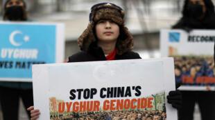 من تظاهرة للأويغور في واشنطن