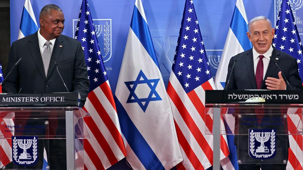 بنيامين نتانياهو مع وزير الدفاع الأمريكي لويد أوستن