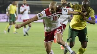 مشهد من مباراة منتخب المغرب وجنوب إفريقيا ( أ ف ب)