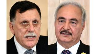 المشير خليفة حفتر (يمين) ورئيس حكومة الوفاق الليبية فايز السراج