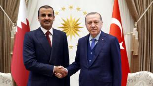 الرئيس التركي رجب طيب أردوغان مع أمير قطر تميم بن حمد آل ثاني في أنقرة يوم 15 يناير 2018