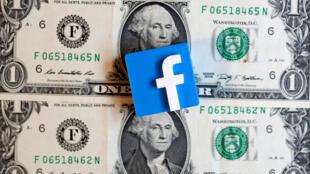 شعار Facebook مطبوع ثلاثي الأبعاد على الأوراق النقدية بالدولار الأمريكي-