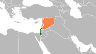 / صورة تظهر تموقع سوريا واسرائيل على الخريطة