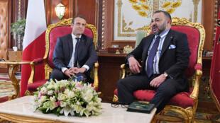 الملك محمد السادس وإيمانويل ماكرون في القصر الملكي بالرباط