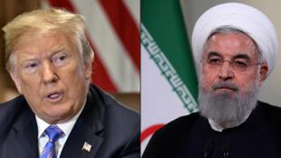مزيج من الصور التي تم إنشاؤها في 23 يوليو 2018  الرئيس الأمريكي دونالد ترامب والرئيس الايراني حسن روحاني