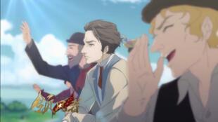 الشخصية الكارتونية لكارل ماركس في وسط الصورة بحسب المسلسل الصيني