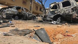 مخلفات الغارة الجوية في طرابلس