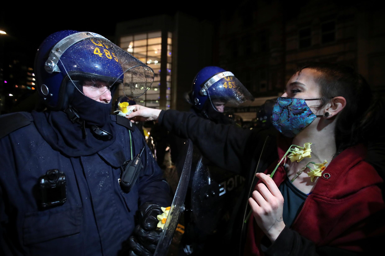 احتجاجات على مشروع قانون جديد للشرطة في بريستول بإنجلترا