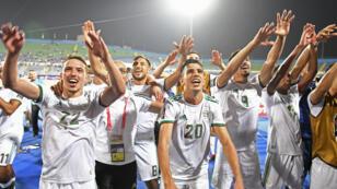 منتخب الجزائر بعد فوزه بعد على منتخب غينيا يوم يوليو 2019