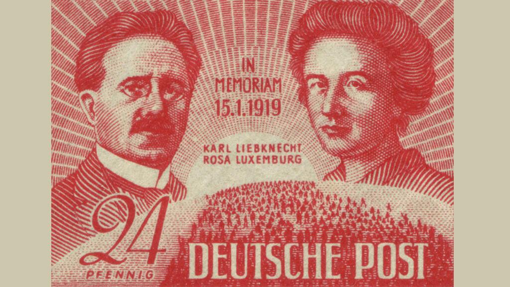طابع صدر في مناطق التواجد السوفيتي في ألمانيا بعد الحرب العالمية الثانية بمناسبة الذكرة الـ30 على اغتيال روزا لوكسمبورغ وكارل ليبكنخت