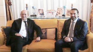 جان إيف لوديان مع سعد الحريري في بيته في الرياض يوم 16 نوفمبر 2017