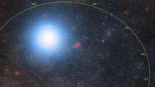 """كوكبة """"قنطور الأقرب سي"""" النجمية كما تم رصدها من كوكب الأرض"""