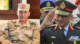 اللواء خالد مجاور مدير المخابرات الحربية المصرية  الجديد ( على يمين الصورة) واللواء محمد الشحات