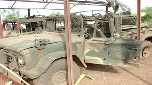 سيارة عسكرية مدمرة داخل المقر
