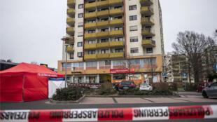 المقهى حيث وقع حادث القتل، مدينة هاناو، قرب فرانكفورت، غرب ألمانيا