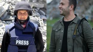 الصحافيان من غزة : سمر أبو عوف وعبد زقوت
