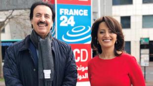 إيمان الحمود رفقة الدبلوماسي القطري ناصر بن حمد أمام مدخل مونت كارلو الدولية بباريس