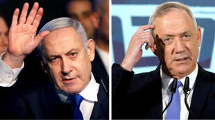 رئيس الوزراء بنيامين نتنياهو و رئيس حزب أزرق أبيض بيني جانتس