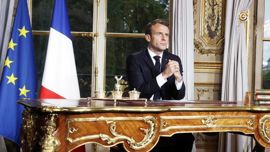 الرئيس الفرنسي إيمانويل ماكرون خلال خطابه إلى الأمة يوم 12 مارس/ آذار 2020