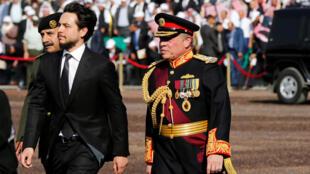 ملك الأردن عبد الله الثاني وولي العهد الأردني