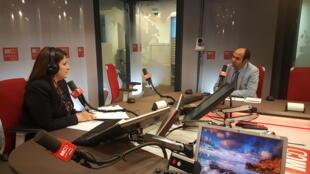 ضيف الحلقة في استوديو مونت كارلو الدولية من اليمين،محمد الشامي،امل نادر