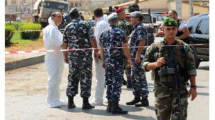 قوى الأمن والجيش اللبناني يطوقون مكان الانفجار في زحلة 31-08-2016