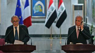لودريان مع نظيره العراقي في بغداد