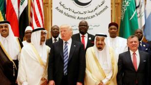 الرئيس ترامب خلال القمة العربية الإسلامية في الرياض في21-05-2017