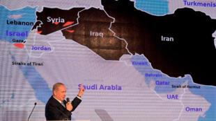 رئيس الوزراء الاسرائيلي بنيامين نتانياهو يقدم محاضرة أمنية