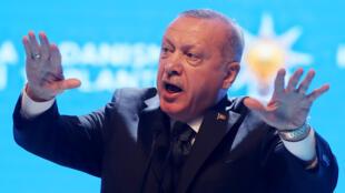 الرئيس التركي رجب طيب أردوغان خلال خطاب في أنقرة