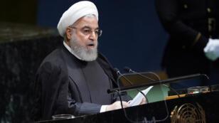 حسن روحاني يلقي خطابه أمام الجمعية العامة للأمم المتحدة يوم 25 سبتمبر 2019