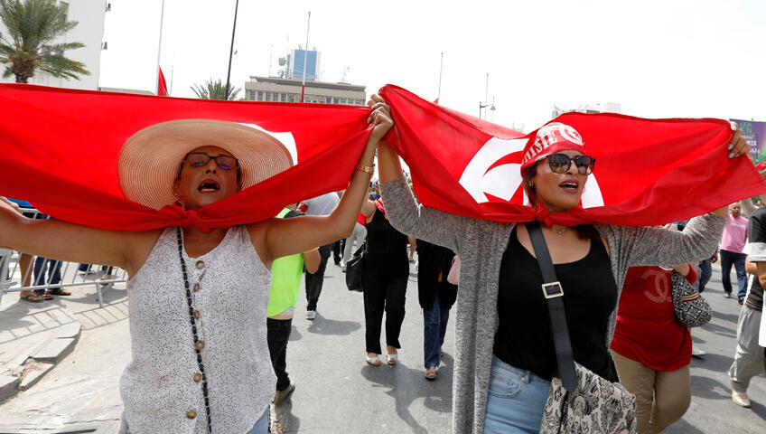 تونسيات يودعن الرئيس الراحل قايد السبسي