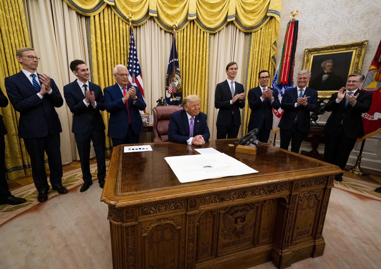 الإعلان عن الاتفاق الإسرائيلي الإماراتي في البيت الأبيض في واشنطن (13 أغسطس 2020)