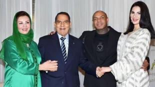 من اليمين: نسرين بن علي وكادوريم والرئيس التونسي السابق بن علي وزوجته ليلى الطرابلسي