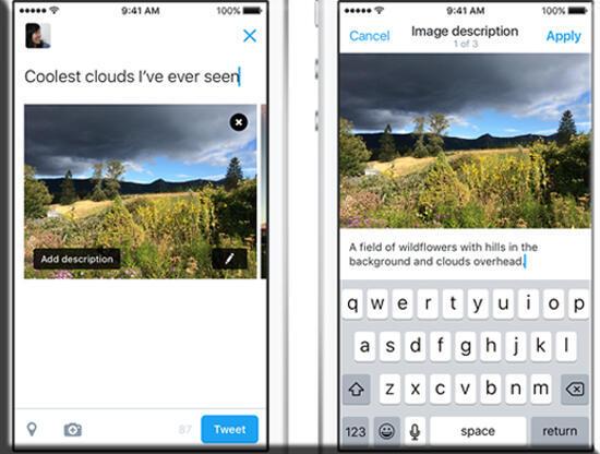 """ميزة """"تويتر"""" تتيح للمستخدمين بإضافة وصف نصي للصورة إليها، حيث يمكن للمستخدم الكفيف الاستماع إلى النص بعد ذلك من خلال التقنيات المساعدة مثل """"قارئ الشاشة"""""""
