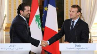 الرئيس الفرنسي إيمانويل ماكرون  مع رئيس الوزراء اللبناني سعد الحريري في الإليزيه 01 أيلول/سبتمبر 2017