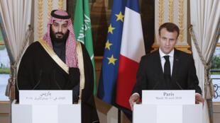 إيمانويل ماكرون والأمير محمد بن سلمان في باريس ( 10-04-2018)
